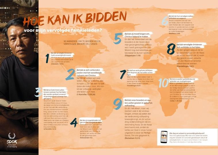 Tien gebedspunten voor vervolgde christenen | Deze poster kun je gratis aanvragen